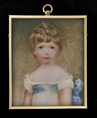 Portrait miniature of Hungerford Crewe, 3rd Baron Crewe (1812-1894) dressed in white smock with blue ribbon tied at the waist, Anthony Stewart